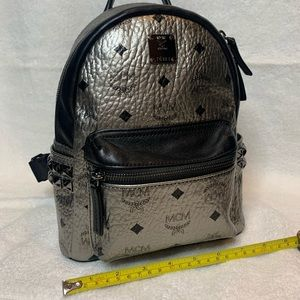 Like New! MCM Backpack, silver w/ pyramid studs